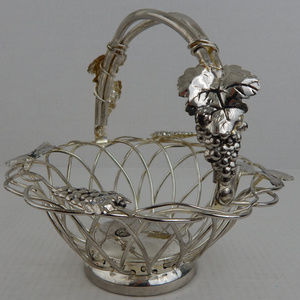 Small Decorative Silver Plated Ornate Basket